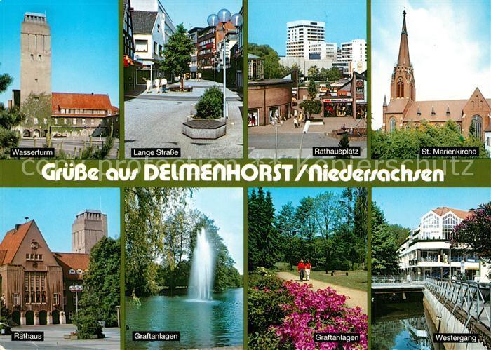 AK / Ansichtskarte Delmenhorst Wasserturm  Rathaus Rathausplatz Graftanlagen Marienkirche Delmenhorst