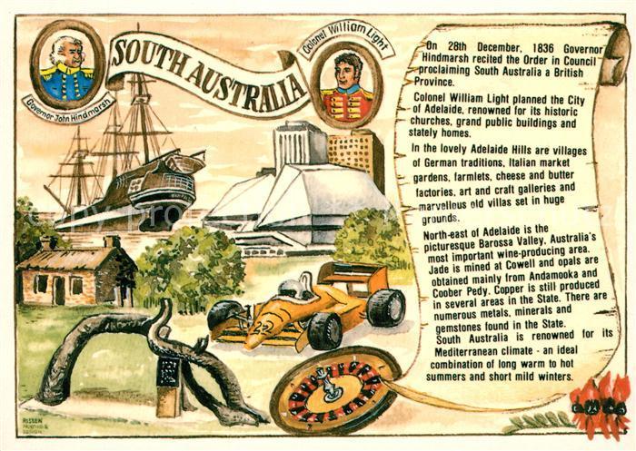 AK / Ansichtskarte Adelaide Gouverneur William Light Rennwagen Adelaide