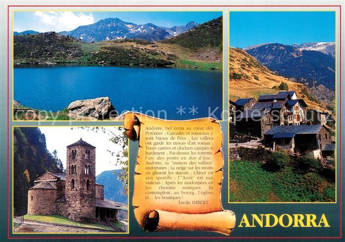 AK / Ansichtskarte Andorra Saint Joan de Caseilles Llac de Tristaina Poble tipic de Ransol Andorra