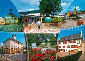 AK / Ansichtskarte Bad_Soden Salmuenster Rathaus Kirche Stadtansichten Park Kurhaus Bad_Soden Salmuenster