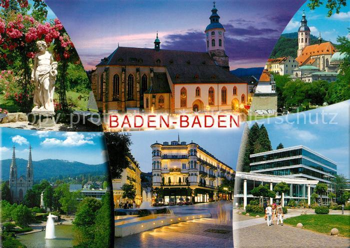 AK / Ansichtskarte Baden Baden Stiftskirche Stadtansichten Nachtaufnahme Baden Baden