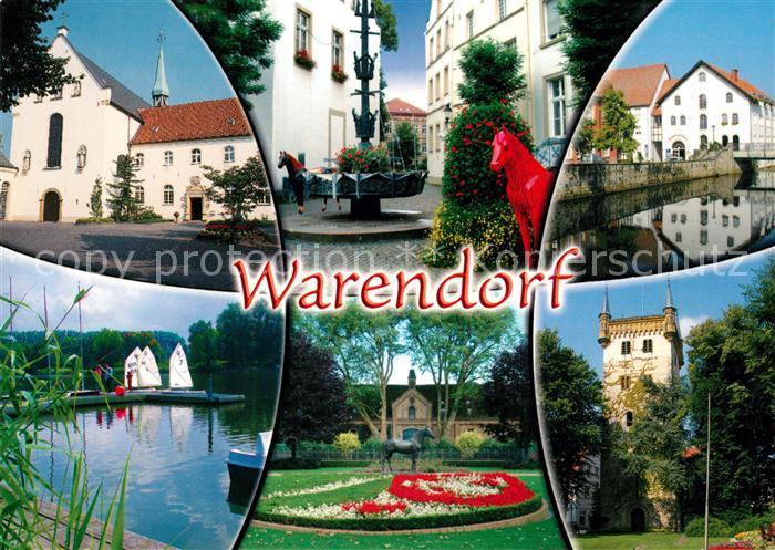 AK / Ansichtskarte Warendorf Kloster Park Burg Stadtansichten Rotes Pferd Warendorf