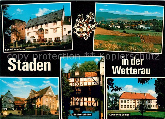 AK / Ansichtskarte Staden_Hessen Schloss Ysenburg Seufzerbruecke Loewsches Schloss Panorama Staden Hessen