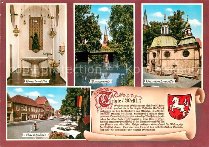 AK / Ansichtskarte Telgte_Warendorf Gnadenbild Gnadenkapelle Marktplatz Emspartie Chronik Telgte Warendorf