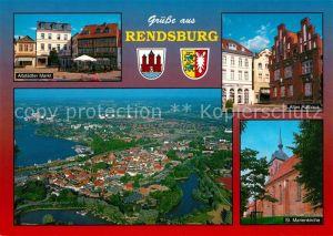 AK / Ansichtskarte Rendsburg Altstaedter Markt Altes Rathaus St Marienkirche Fliegeraufnahme Rendsburg