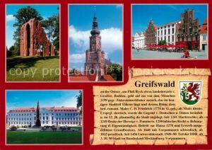 AK / Ansichtskarte Greifswald Klosterruine Eldena St. Nikolai Dom Marktplatz Greifswald