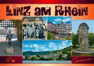 AK / Ansichtskarte Linz_Rhein Burgtor Skulptur Fachwerkhaeuser Turm Rheinpartie Linz_Rhein