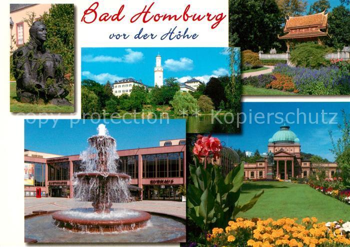 AK / Ansichtskarte Bad_Homburg Skulptur Weisser Turm Park Brunnen Kurhaus Bad_Homburg