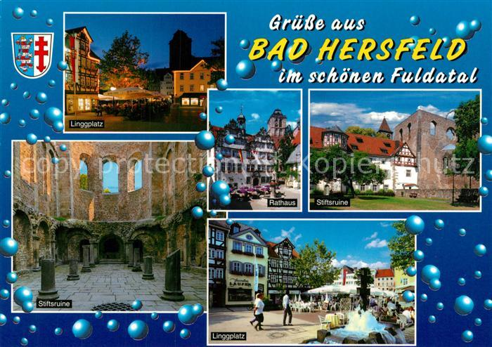 AK / Ansichtskarte Bad_Hersfeld Linggplatz Stiftsruine Rathaus  Bad_Hersfeld
