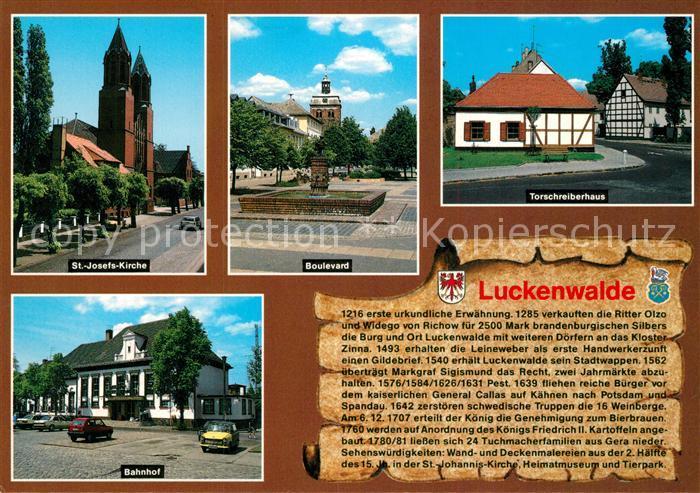 AK / Ansichtskarte Luckenwalde St Josefs Kirche Boulevard Torschreiberhaus Bahnhof Luckenwalde