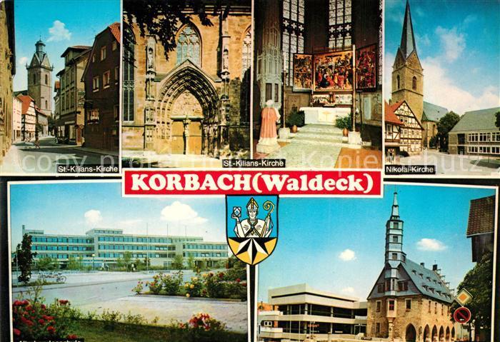 AK / Ansichtskarte Korbach St Kilians Kirche Nikolai Kirche Klinik Kirche Korbach