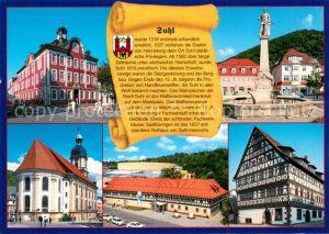 AK / Ansichtskarte Suhl_Thueringer_Wald Rathaus Waffenschmied Brunnen Kreuzkirche Suhl_Thueringer_Wald