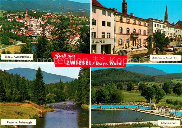 AK / Ansichtskarte Zwiesel_Niederbayern Rathaus Stadtplatz Regen Falkenstein  Zwiesel Niederbayern