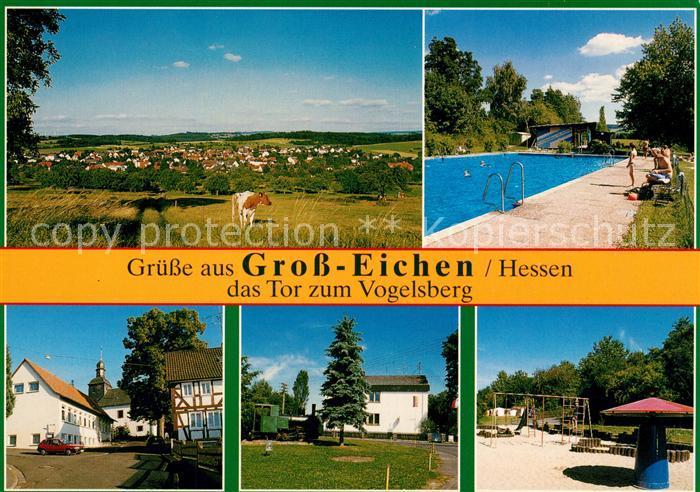 Prächtig AK / Ansichtskarte Gross Eichen Freibad Spielplatz Campingplatz @HU_88