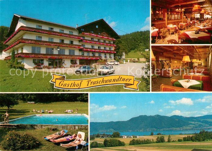 AK / Ansichtskarte Abtsdorf_Attersee Gasthof Pension Traschwandter Restaurant Swimming Pool Landschaftspanorama Alpen