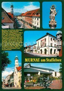 AK / Ansichtskarte Murnau_Staffelsee Bemalte Haeuser Kirchen Mariahilf und St Nikolaus Statue Madonna mit Kind Murnau_Staffelsee