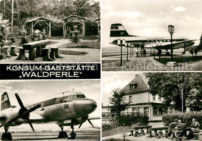 AK / Ansichtskarte Langenbernsdorf Konsum Gaststaette Waldperle Propellerflugzeug Interflug Langenbernsdorf