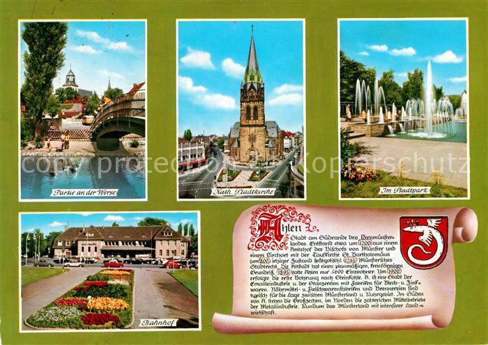 AK / Ansichtskarte Ahlen Bahnhof Stadtpark Kirche Werdepartie Ahlen