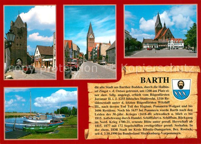 AK / Ansichtskarte Barth Marktplatz Marienkirche Seglerhafen Dammtor Barth