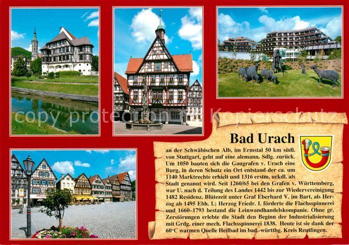 AK / Ansichtskarte Urach_Bad Fachwerk Denkmal Fachwerk Schloss Rathaus Marktplatz Urach_Bad