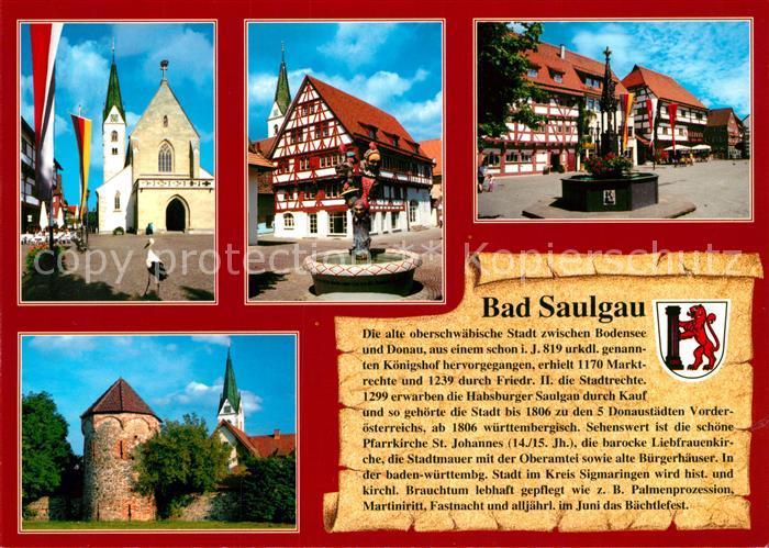 AK / Ansichtskarte Saulgau_Bad Stadtmauer Fachwerk Kirche Brunnen Saulgau_Bad