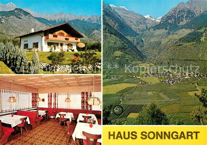 AK / Ansichtskarte Partschins_Merano_Suedtirol Gaestehaus Pension Haus Sonngart Landschaftspanorama Alpen Partschins_Merano 0