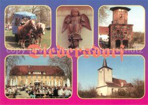 AK / Ansichtskarte Diedersdorf_Zossen Pferdewagen Schloss Gartenrestaurant Skulptur Turm Kirche Diedersdorf Zossen