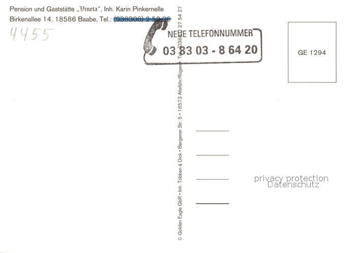 AK / Ansichtskarte Baabe_Ostseebad_Ruegen Pension Gaststaette Vineta Fliegeraufnahme Baabe_Ostseebad_Ruegen 1