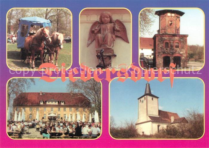 AK / Ansichtskarte Diedersdorf_Zossen Pferdewagen Schloss Gartenrestaurant Turm Kirche Skulptur Diedersdorf Zossen 0