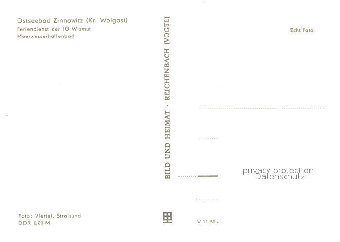 AK / Ansichtskarte Zinnowitz_Ostseebad Feriendienst der IG Wismut Meerwasserhallenbad Zinnowitz_Ostseebad 1