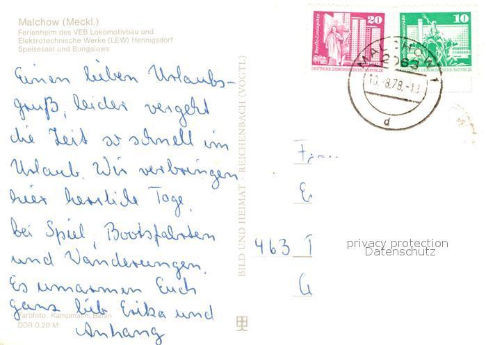 AK / Ansichtskarte Malchow Ferienheim des VEB Lokomotivbau und Elektrotechnische Werke Henningsdorf Speisesaal Bungalows Malchow 1