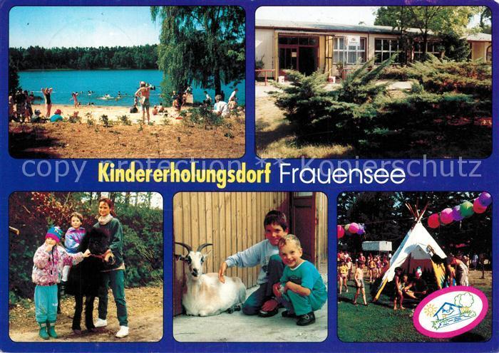 AK / Ansichtskarte Graebendorf_Koenigs_Wusterhausen Kindererholungsdorf Frauensee Badestrand Pony Ziege Zelt Graebendorf_Koenigs 0
