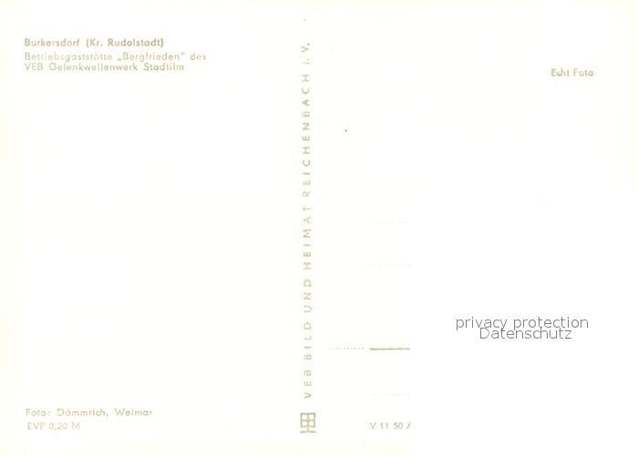AK / Ansichtskarte Burkersdorf_Saalfelder_Hoehe Betriebsgaststaette Bergfrieden Burkersdorf_Saalfelder 1