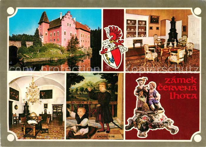 AK / Ansichtskarte Cervena_Lhota Zamek Schloss Innenansichten Gemaelde Porzellanfiguren Cervena Lhota 0