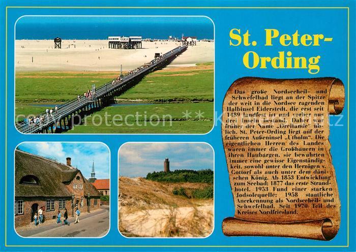 AK / Ansichtskarte Peter Ording_St Seebruecke Duenen Leuchtturm Chronik Peter Ording_St 0