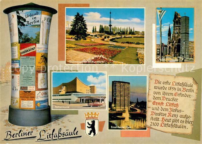 AK / Ansichtskarte Berlin Litfasssaeule Philharmonie Sommergarten Funkturm Ernst Reuter Platz Chronik Berlin 0