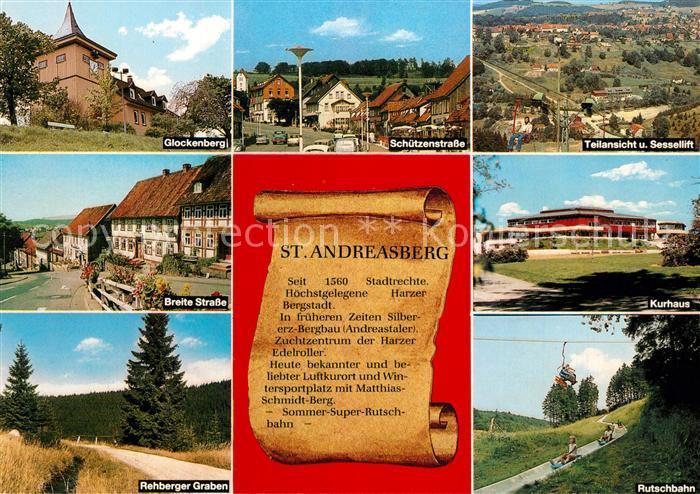 AK / Ansichtskarte Andreasberg_Harz_St Glockenberg Schuetzenstrasse Rehberger Graben Rutschbahn Chronik Andreasberg_Harz_St 0