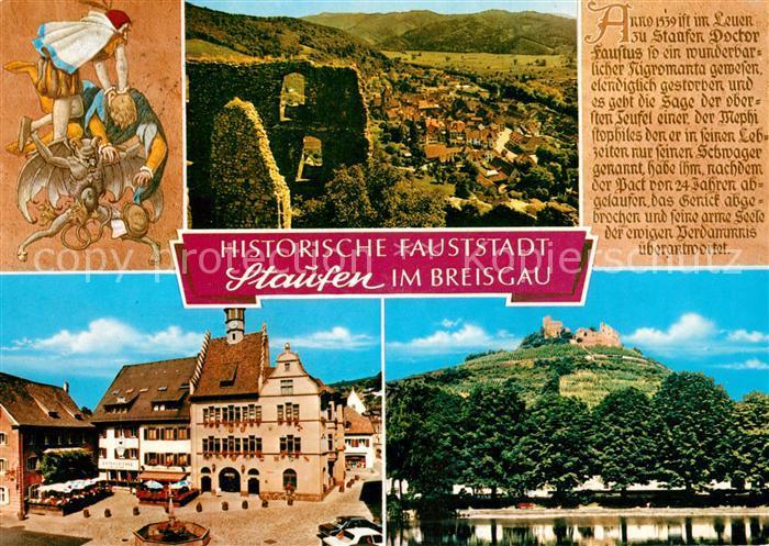 AK / Ansichtskarte Staufen_Breisgau Panorama Rathaus Burgruine Staufen Breisgau 0