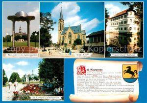AK / Ansichtskarte Rappenau_Bad Monopteros Salinengarten Kirche Wasserschloss Rathaus Kurpark Salinengarten Rappenau_Bad