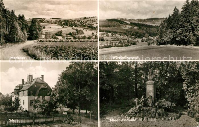 AK / Ansichtskarte Marieney Landschaftspanorama Wuerschnitzgrund Schule Mosen Denkmal Bueste Marieney 0