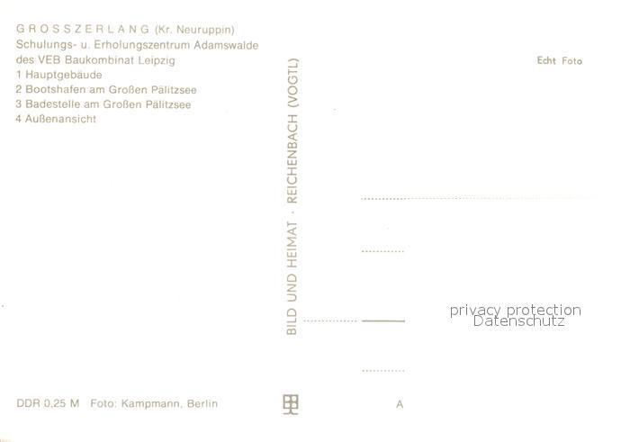 AK / Ansichtskarte Grosszerlang Schulungs und Erholungszentrum VEB Baukombinat Leipzig Bootshafen Palitzsee Grosszerlang 1