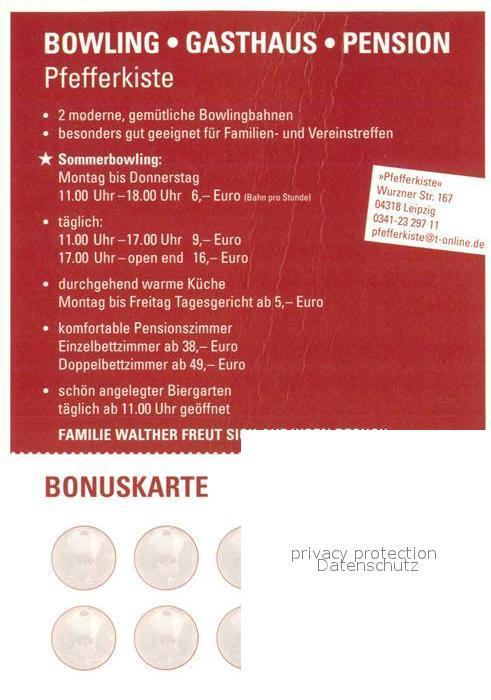 AK / Ansichtskarte Leipzig Bowling Gasthaus Pension Pfefferkiste Leipzig 1