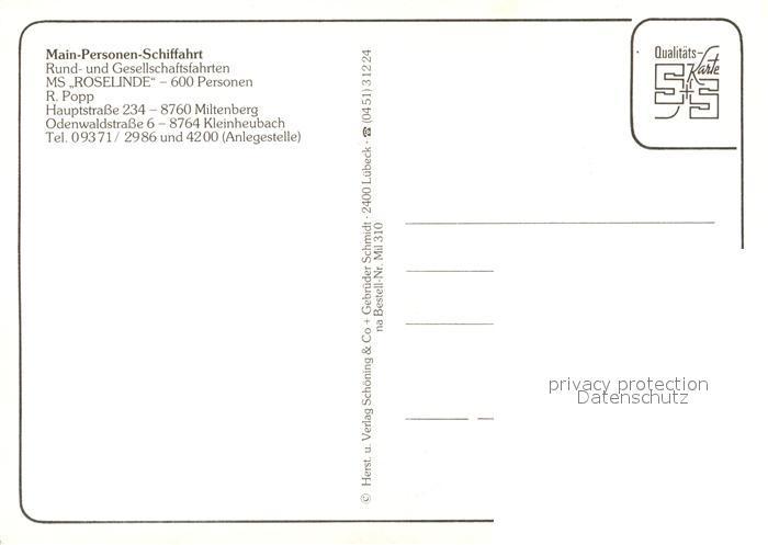 AK / Ansichtskarte Miltenberg_Main Main Personen Schifffahrt MS Roselinde Fahrgastschiff Miltenberg Main 1
