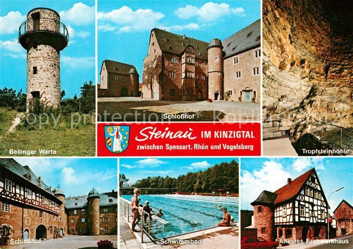 AK / Ansichtskarte Steinau_Strasse Bellinger Warte Schloss Hof Tropfsteinhoehle Schwimmbad aeltestes Fachwerkhaus Steinau_Strasse 0