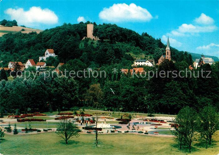 AK / Ansichtskarte Bad_Soden Salmuenster Neuer Kurpark mit Blick zur Stolzenberg Burgruine Bad_Soden Salmuenster 0