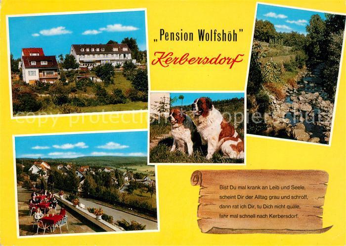 AK / Ansichtskarte Kerbersdorf Pension Wolfshoeh Terrasse Bernhardiner Hunde Bachlauf Natur Gedicht Kerbersdorf 0