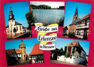 AK / Ansichtskarte Erlensee Turm Wehrturm Rueckingen Kirche ehem Wasserburg Langendiebach Kirche Erlensee