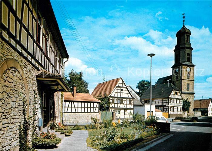 AK / Ansichtskarte Rodenbach_Hanau Partie am alten Rathaus Kirche Fachwerkhaeuser Rodenbach Hanau 0