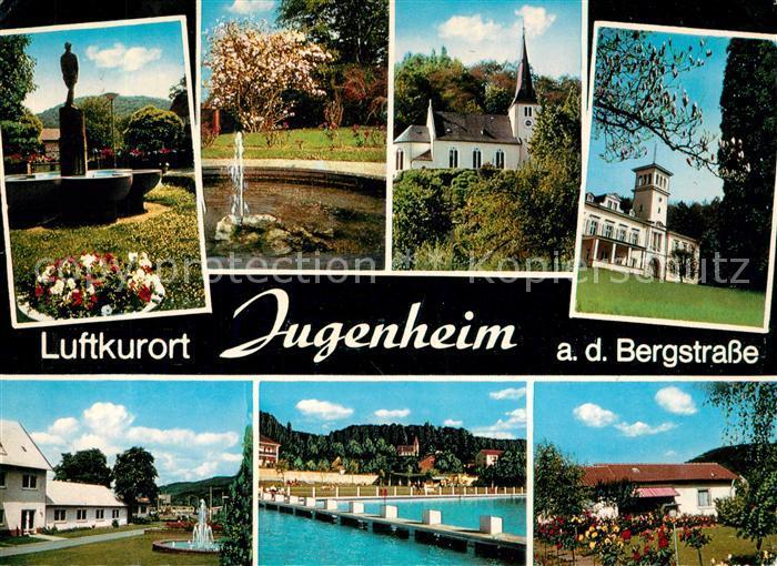 AK / Ansichtskarte Jugenheim_Seeheim Jugenheim Teilansichten Luftkurort Brunnen Kirche Freibad Jugenheim 0