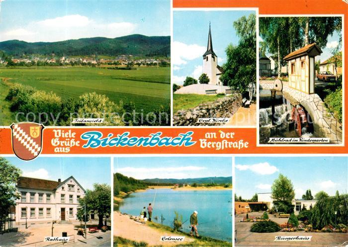 AK / Ansichtskarte Bickenbach_Bergstrasse Panorama Kirche Muehlrad Buergerhaus Erlensee Rathaus Bickenbach_Bergstrasse